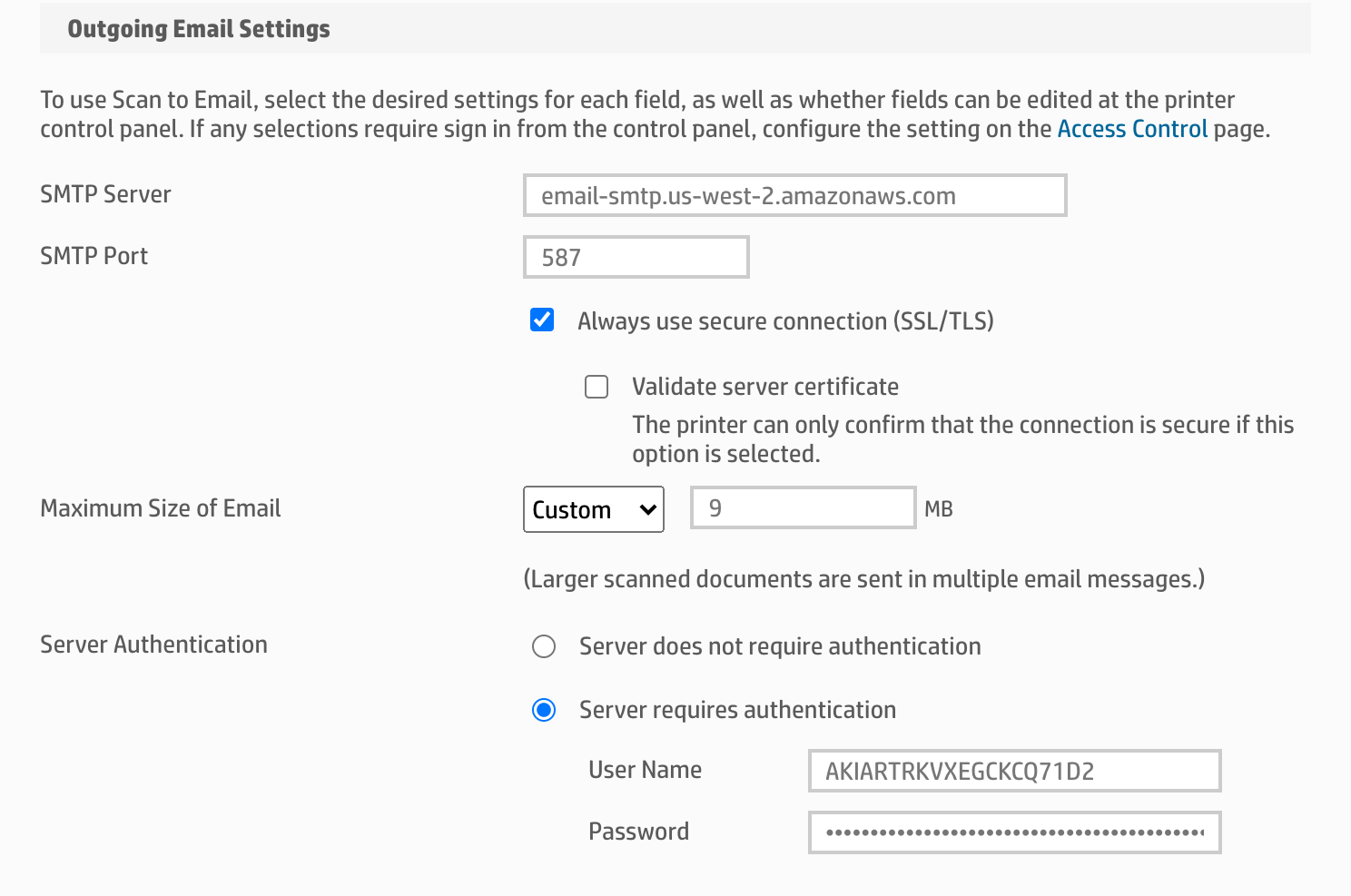 AWS SMTP Configuration on the printer